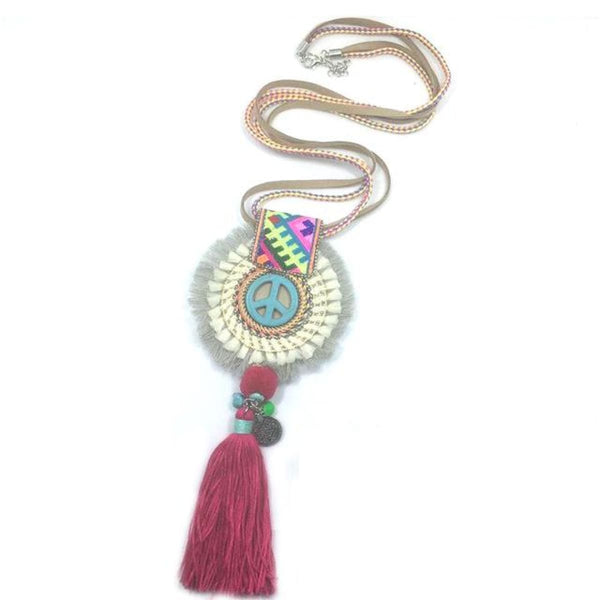 Boho Handmade Necklace Dream Catcher Bull Pendant Rope Necklace Color 1 Bohemian Necklace