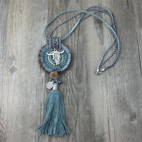 Boho Handmade Necklace Dream Catcher Bull Pendant Rope Necklace Bohemian Necklace