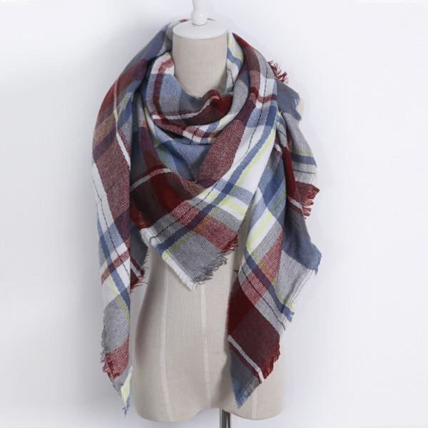 Cashmere Triangle Plaid Shawl Scarf Triangle Color14 Scarves