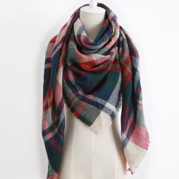 Cashmere Triangle Plaid Shawl Scarf Triangle Color17 Scarves
