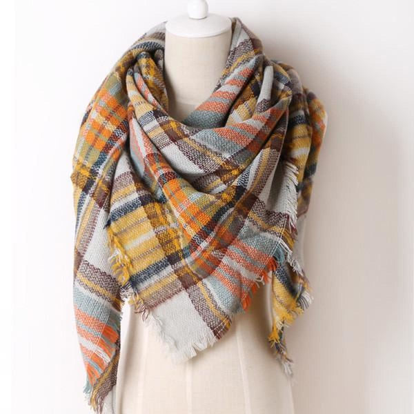 Cashmere Triangle Plaid Shawl Scarf Triangle Color9 Scarves