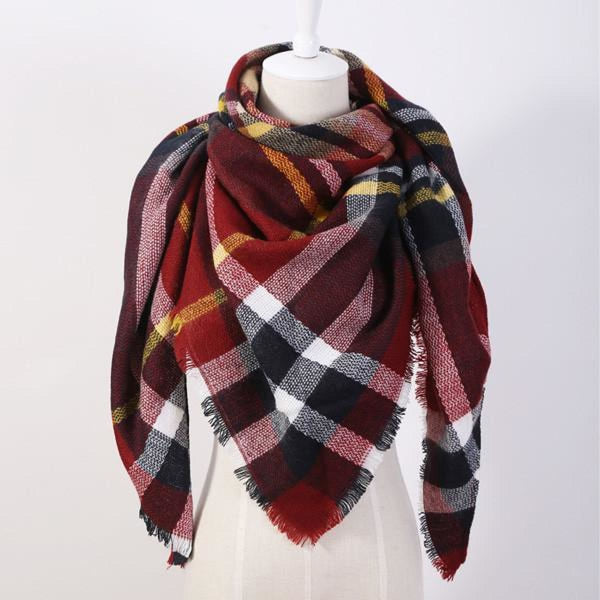 Cashmere Triangle Plaid Shawl Scarf Triangle Color6 Scarves