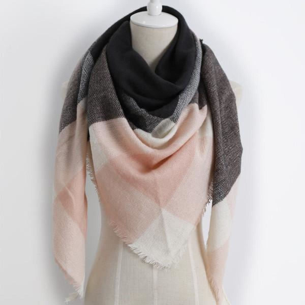 Cashmere Triangle Plaid Shawl Scarf Triangle Color10 Scarves