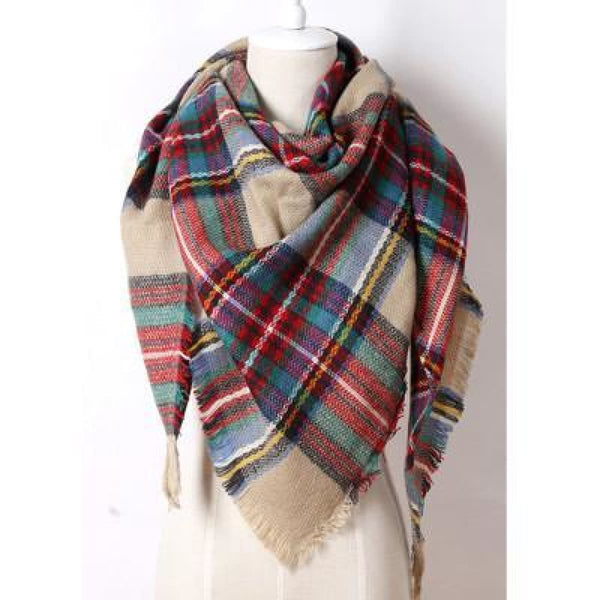 Cashmere Triangle Plaid Shawl Scarf Triangle Color4 Scarves