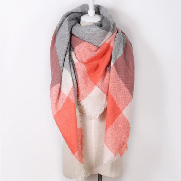 Cashmere Triangle Plaid Shawl Scarf Triangle Color8 Scarves