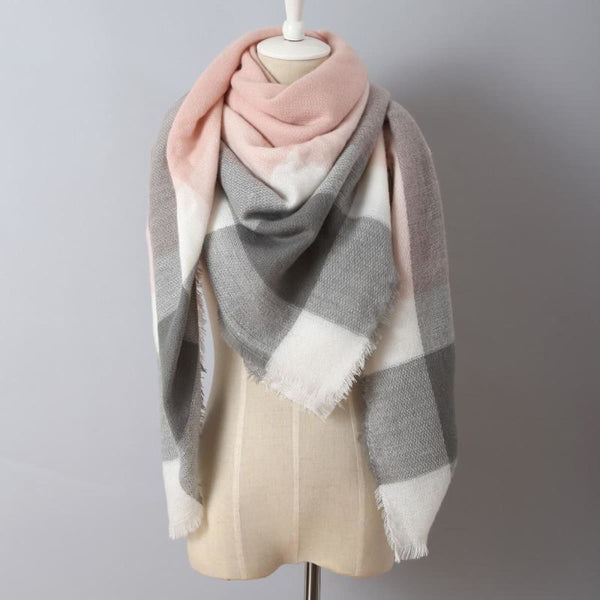 Cashmere Triangle Plaid Shawl Scarf Triangle Color1 Scarves