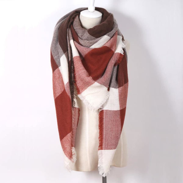 Cashmere Triangle Plaid Shawl Scarf Triangle Color16 Scarves