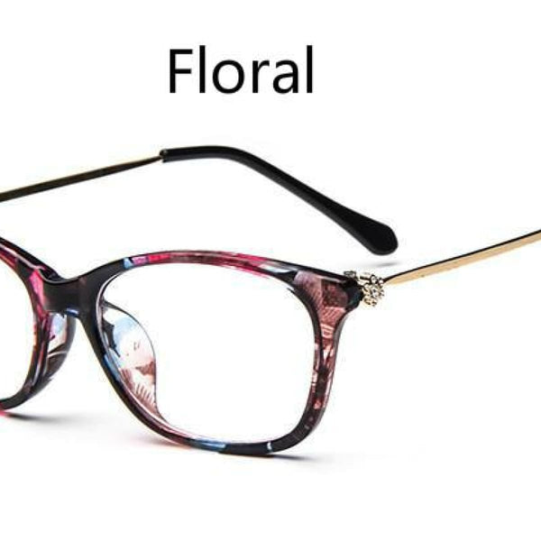 Cat Eye Retro Eyeglasses Clear Lens Eyewear Frame - Oculos De Grau Blue Flower