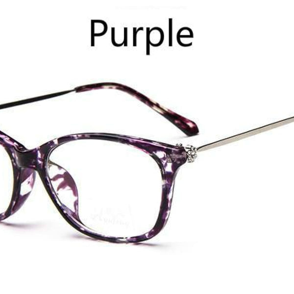 Cat Eye Retro Eyeglasses Clear Lens Eyewear Frame - Oculos De Grau Purple Flower