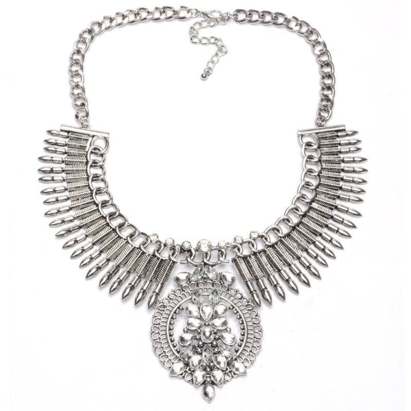 Crystal Maxi Choker Necklaces With Pendants 4 Chain Necklaces