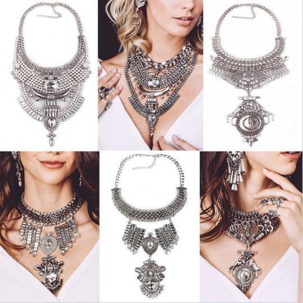 Crystal Maxi Choker Necklaces With Pendants Chain Necklaces