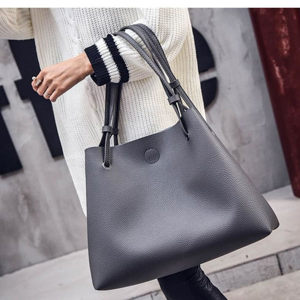 Dalf Luxury Designer Leather Tote Clutch Set Leather Handbag