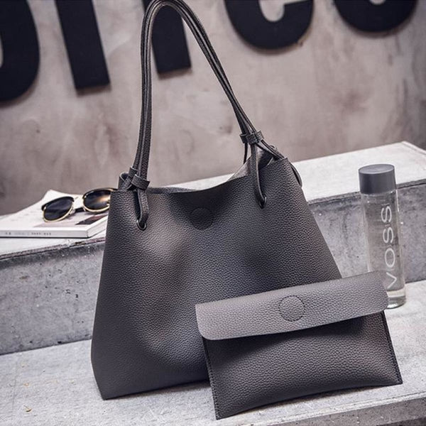 Dalf Luxury Designer Leather Tote Clutch Set Dark Gray Leather Handbag