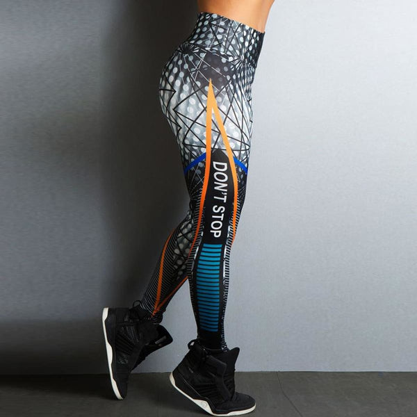 Dont Stop Print High Waist Sport Fitness Leggings