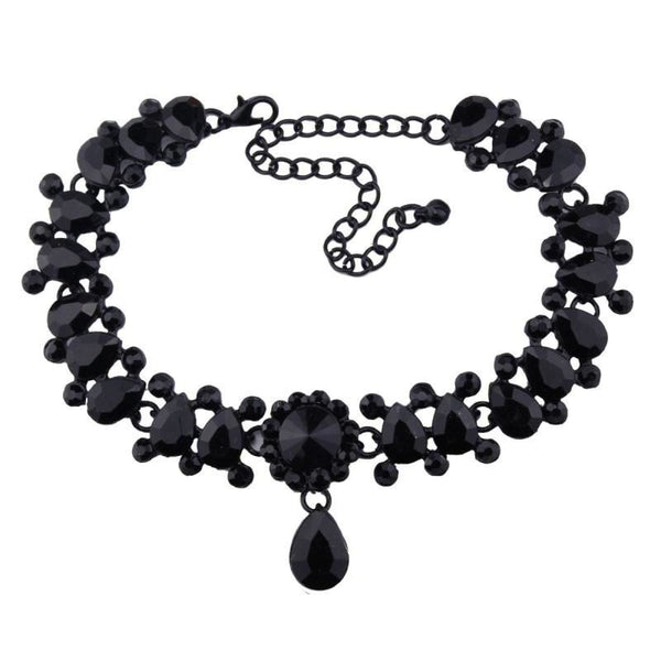 Drop Crystal Beads Choker Necklace & Pendant Black Choker Necklaces