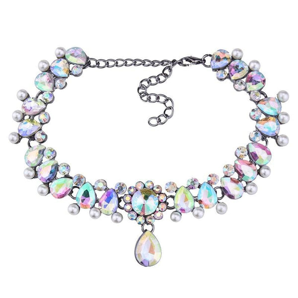 Drop Crystal Beads Choker Necklace & Pendant Ab Color Choker Necklaces