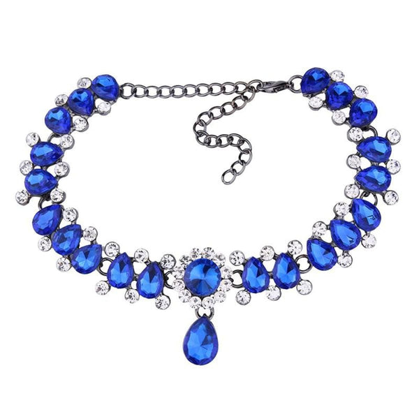 Drop Crystal Beads Choker Necklace & Pendant Blue Choker Necklaces