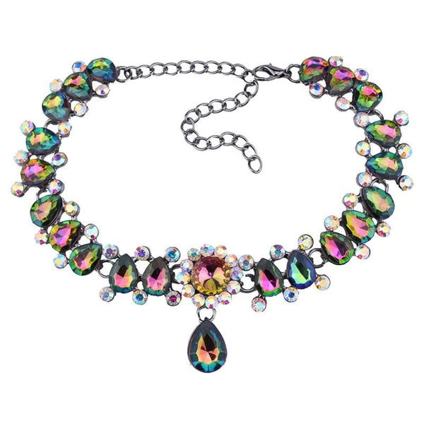 Drop Crystal Beads Choker Necklace & Pendant Multicolored Choker Necklaces