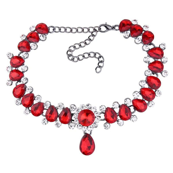 Drop Crystal Beads Choker Necklace & Pendant Red Choker Necklaces