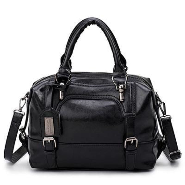 Dz Designer Four Belts Boston Leather Shoulder Bags Handbag Black / China / 27Cmx13Cmx21Cm Leather Handbag