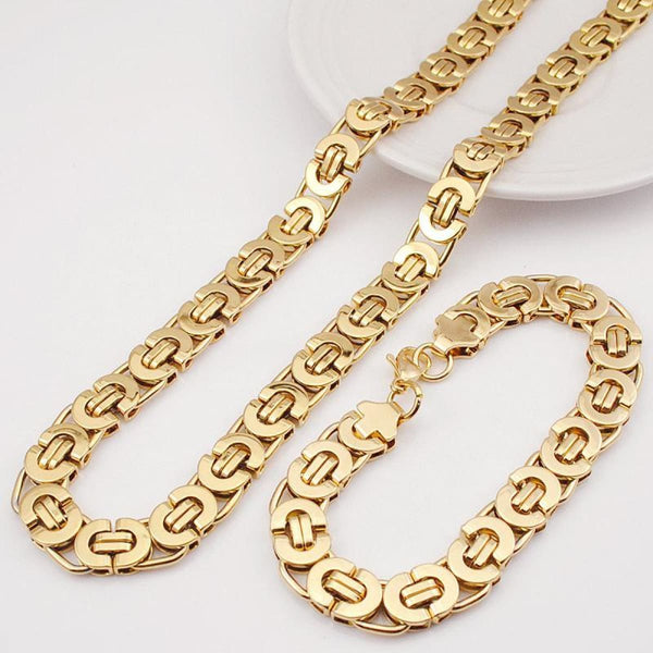 E2 Stainless Steel Byzantine Bracelet & Necklace Set 11Mm 55Cm 22Cm 11Mm 2 Mens Jewelry Set