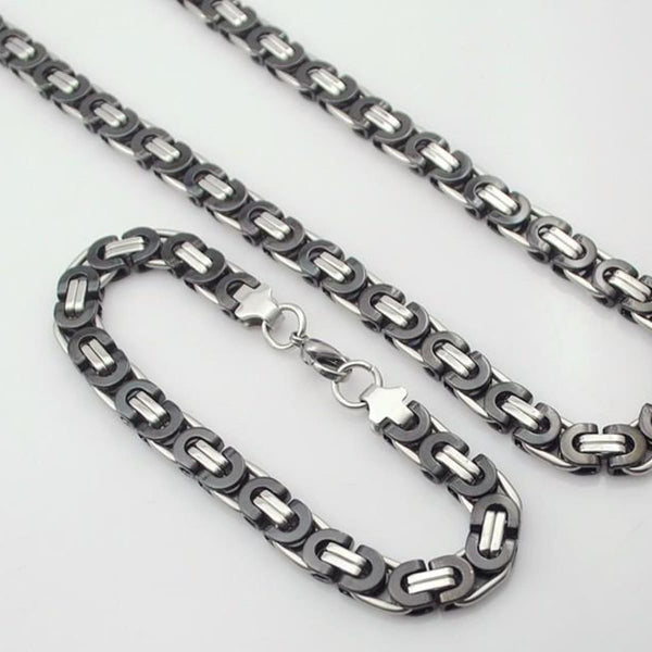 E2 Stainless Steel Byzantine Bracelet & Necklace Set 8Mm 55Cm 22Cm 8Mm 2 Mens Jewelry Set
