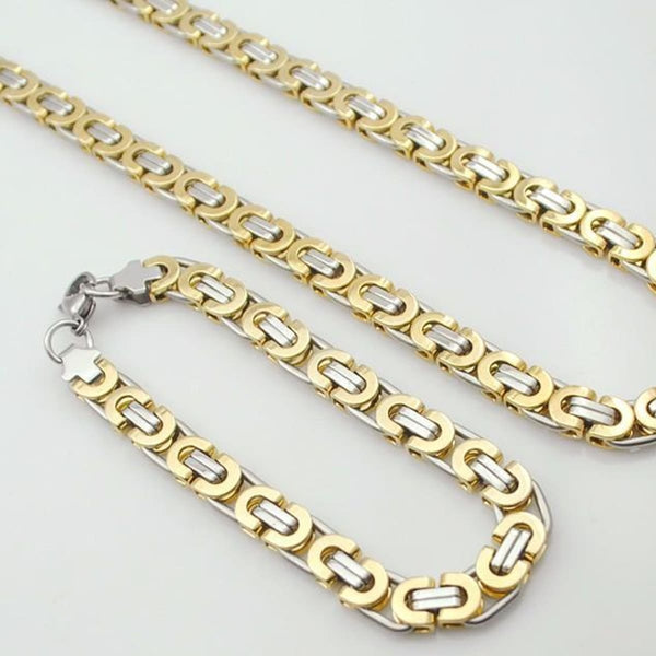 E2 Stainless Steel Byzantine Bracelet & Necklace Set 8Mm 55Cm 22Cm 8Mm 3 Mens Jewelry Set