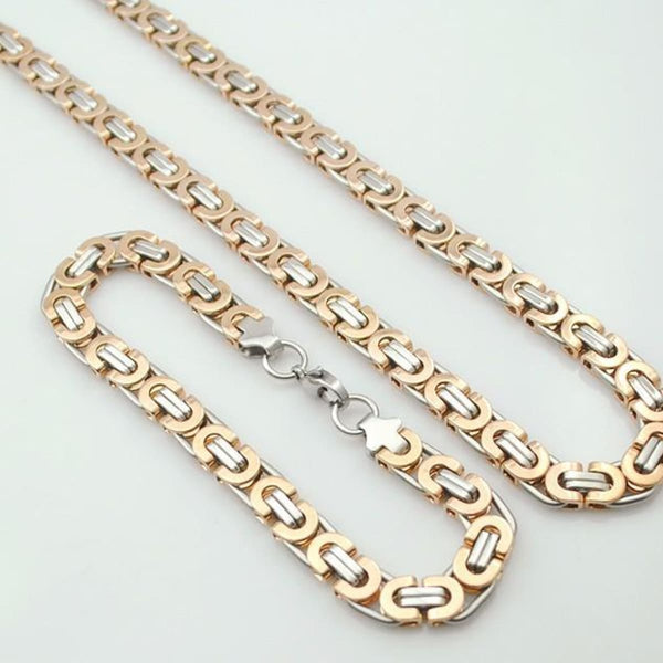 E2 Stainless Steel Byzantine Bracelet & Necklace Set 11Mm 55Cm 22Cm 11Mm 4 Mens Jewelry Set