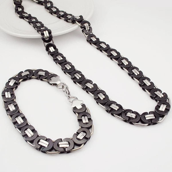 E2 Stainless Steel Byzantine Bracelet & Necklace Set 11Mm 55Cm 22Cm 11Mm 3 Mens Jewelry Set