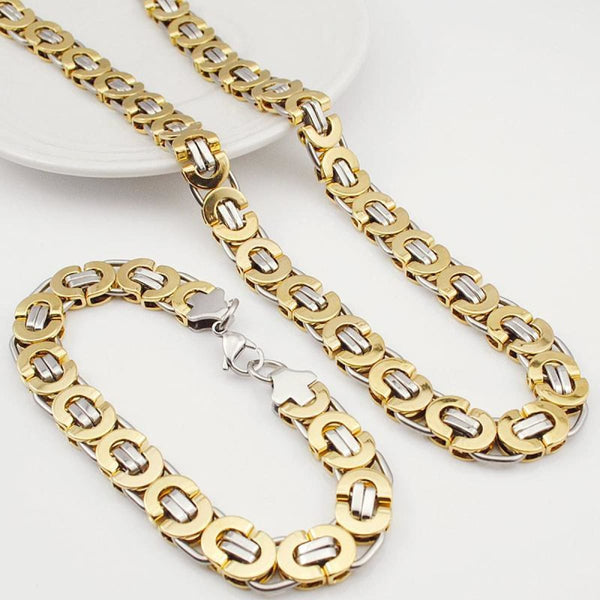E2 Stainless Steel Byzantine Bracelet & Necklace Set 11Mm 55Cm 22Cm 11Mm 1 Mens Jewelry Set
