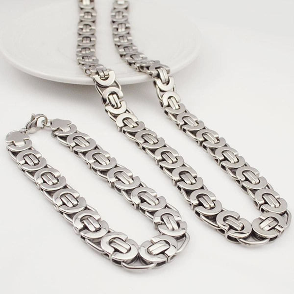 E2 Stainless Steel Byzantine Bracelet & Necklace Set 11Mm 55Cm 22Cm 11Mm Mens Jewelry Set