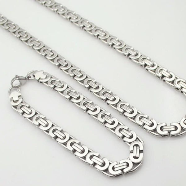 E2 Stainless Steel Byzantine Bracelet & Necklace Set 8Mm 55Cm 22Cm 8Mm Mens Jewelry Set