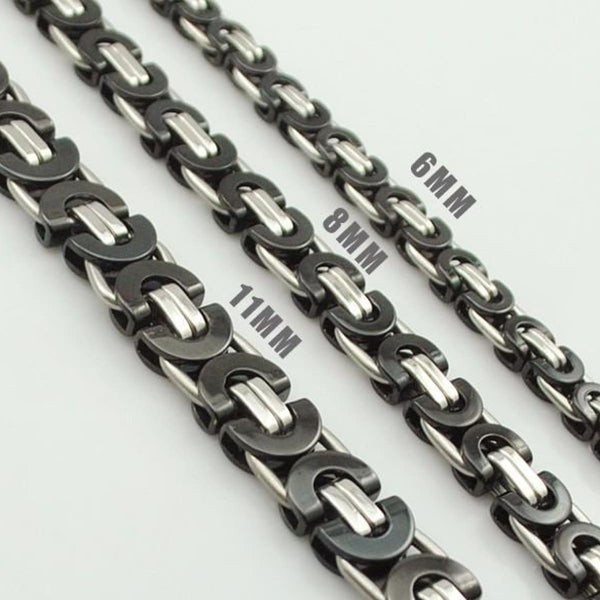 E2 Stainless Steel Byzantine Bracelet & Necklace Set Mens Jewelry Set