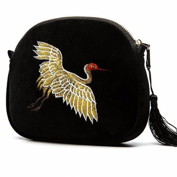 Elegant Crane Designer Velvet Embroidered Crossbody Shoulder Bag With Tassel Crossbody Bag