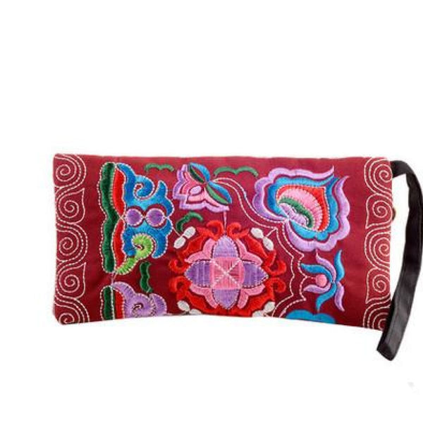 Floral Clutch Canvas Embroidered Handbags Clutch Purse