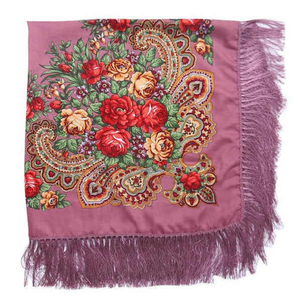 Floral Print Square Scarf With Tassel Pipink 1
