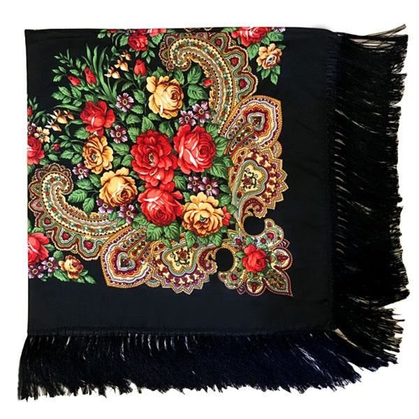 Floral Print Square Scarf With Tassel Black 1