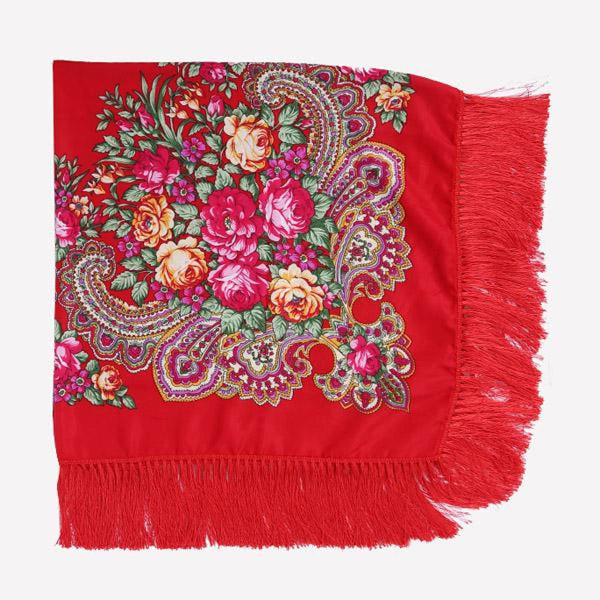 Floral Print Square Scarf With Tassel Red 1