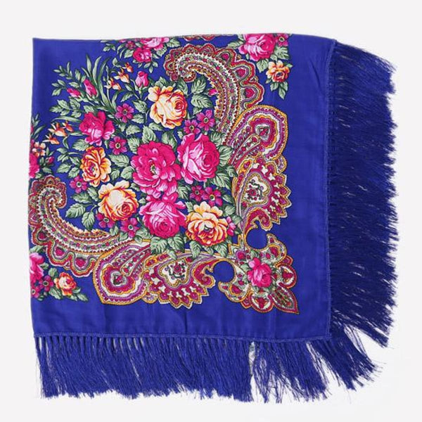 Floral Print Square Scarf With Tassel Bao Blue 1