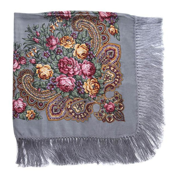 Floral Print Square Scarf With Tassel Gray 1
