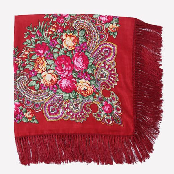Floral Print Square Scarf With Tassel Jiu Red 1
