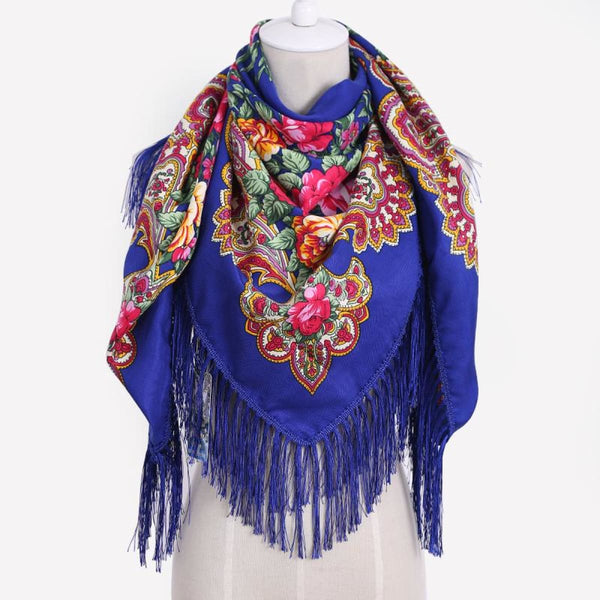 Floral Print Square Scarf With Tassel
