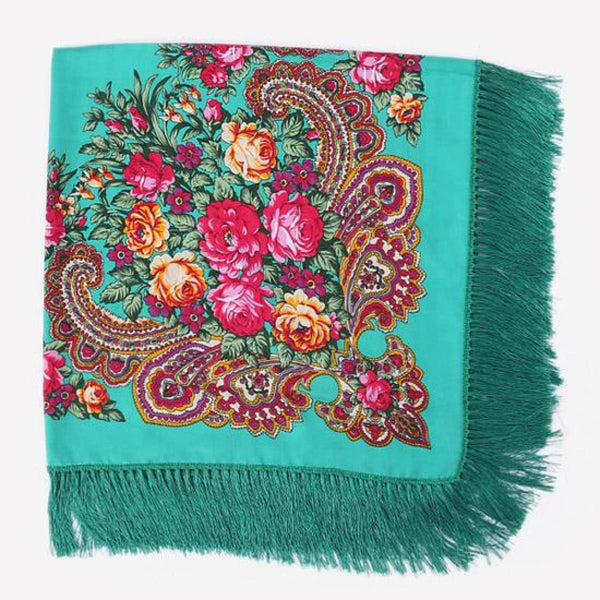 Floral Print Square Scarf With Tassel Green 1