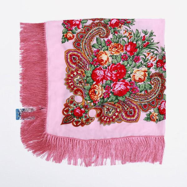 Floral Print Square Scarf With Tassel Pink 1