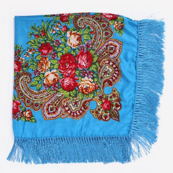 Floral Print Square Scarf With Tassel Sky Blue 1