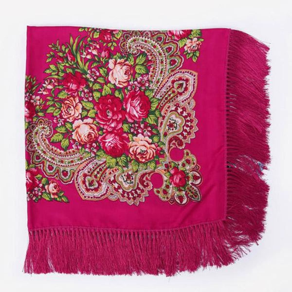 Floral Print Square Scarf With Tassel Mei Red 1
