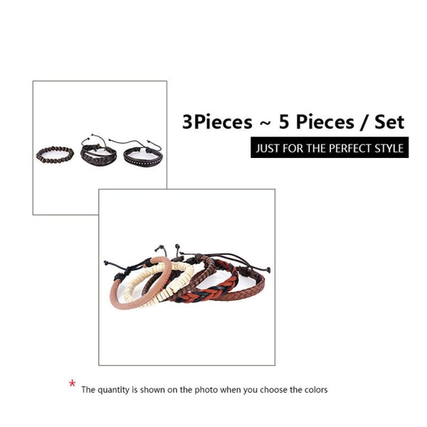 Funique Multilayer Bracelet Men Casual Fashion Braided Leather Bracelets For Women Wood Bead Bracelet Punk Rock Men Jewelry Chain & Link