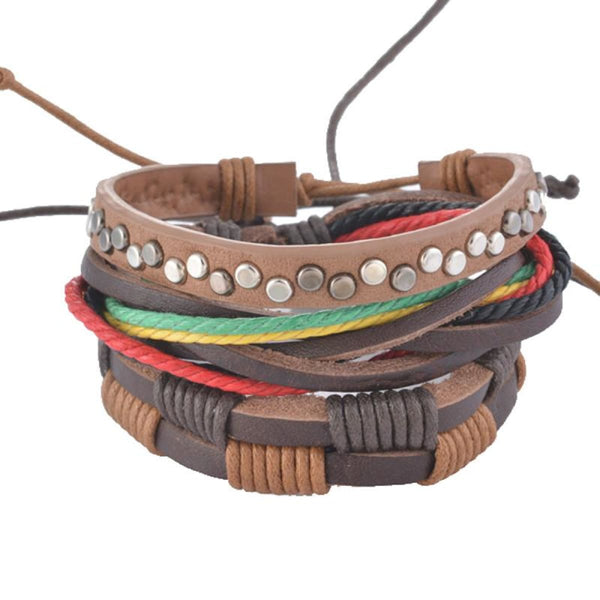 Funique Multilayer Bracelet Men Casual Fashion Braided Leather Bracelets For Women Wood Bead Bracelet Punk Rock Men Jewelry Up08123 Chain &