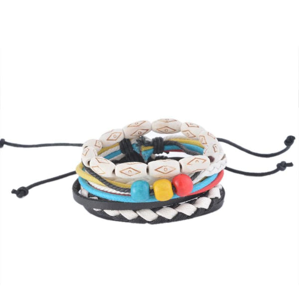 Funique Multilayer Bracelet Men Casual Fashion Braided Leather Bracelets For Women Wood Bead Bracelet Punk Rock Men Jewelry Up08131 Chain &