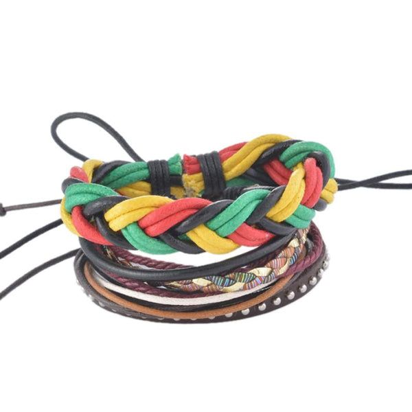 Funique Multilayer Bracelet Men Casual Fashion Braided Leather Bracelets For Women Wood Bead Bracelet Punk Rock Men Jewelry Up08127 Chain &